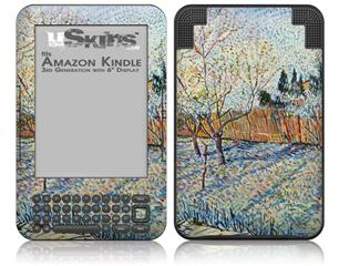 Vincent Van Gogh Orchard With Cypress - Decal Style Skin fits Amazon Kindle 3 Keyboard (with 6 inch display)