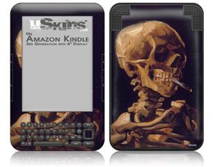 Vincent Van Gogh Skull With A Burning Cigarette - Decal Style Skin fits Amazon Kindle 3 Keyboard (with 6 inch display)