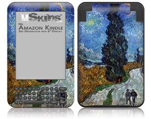 Vincent Van Gogh Van Gogh - Country Road In Provence By Night - Decal Style Skin fits Amazon Kindle 3 Keyboard (with 6 inch display)