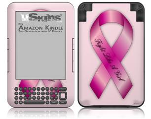 Fight Like a Girl Breast Cancer Pink Ribbon on Pink - Decal Style Skin fits Amazon Kindle 3 Keyboard (with 6 inch display)