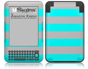 Psycho Stripes Neon Teal and Gray - Decal Style Skin fits Amazon Kindle 3 Keyboard (with 6 inch display)