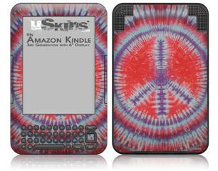 Tie Dye Peace Sign 105 - Decal Style Skin fits Amazon Kindle 3 Keyboard (with 6 inch display)