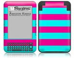 Psycho Stripes Neon Teal and Hot Pink - Decal Style Skin fits Amazon Kindle 3 Keyboard (with 6 inch display)