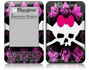 Pink Diamond Skull - Decal Style Skin fits Amazon Kindle 3 Keyboard (with 6 inch display)