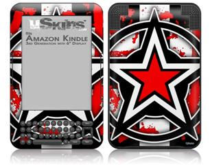 Star Checker Splatter - Decal Style Skin fits Amazon Kindle 3 Keyboard (with 6 inch display)
