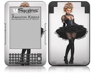 Goth Princess Pin Up Girl - Decal Style Skin fits Amazon Kindle 3 Keyboard (with 6 inch display)