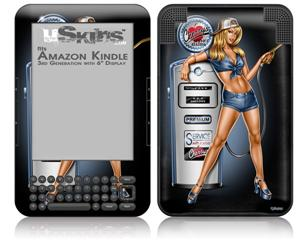 Filler Up Pin Up Girl - Decal Style Skin fits Amazon Kindle 3 Keyboard (with 6 inch display)