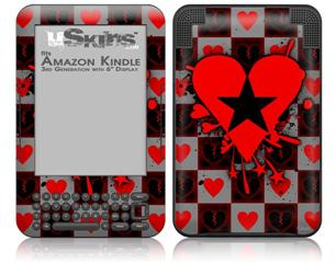 Emo Star Heart - Decal Style Skin fits Amazon Kindle 3 Keyboard (with 6 inch display)
