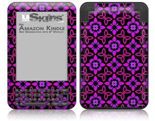 Pink Floral - Decal Style Skin fits Amazon Kindle 3 Keyboard (with 6 inch display)