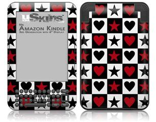 Hearts and Stars Red - Decal Style Skin fits Amazon Kindle 3 Keyboard (with 6 inch display)