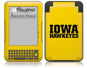 Iowa Hawkeyes 01 Black on Gold - Decal Style Skin fits Amazon Kindle 3 Keyboard (with 6 inch display)