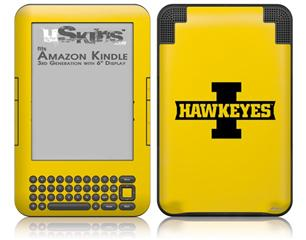 Iowa Hawkeyes 02 Black on Gold - Decal Style Skin fits Amazon Kindle 3 Keyboard (with 6 inch display)