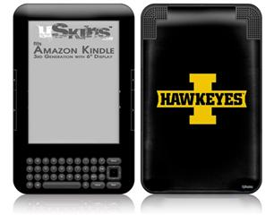 Iowa Hawkeyes 02 Gold on Black - Decal Style Skin fits Amazon Kindle 3 Keyboard (with 6 inch display)