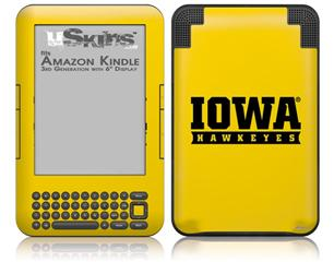 Iowa Hawkeyes 03 Gold on Black - Decal Style Skin fits Amazon Kindle 3 Keyboard (with 6 inch display)