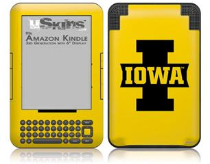 Iowa Hawkeyes 04 Black on Gold - Decal Style Skin fits Amazon Kindle 3 Keyboard (with 6 inch display)
