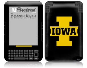 Iowa Hawkeyes 04 Gold on Black - Decal Style Skin fits Amazon Kindle 3 Keyboard (with 6 inch display)
