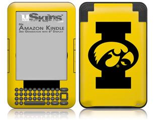 Iowa Hawkeyes Tigerhawk Oval 02 Black on Gold - Decal Style Skin fits Amazon Kindle 3 Keyboard (with 6 inch display)