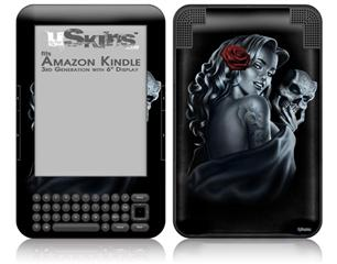 Two Face with Rose - Decal Style Skin fits Amazon Kindle 3 Keyboard (with 6 inch display)