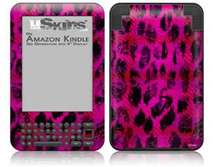 Pink Distressed Leopard - Decal Style Skin fits Amazon Kindle 3 Keyboard (with 6 inch display)