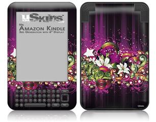 Grungy Flower Bouquet - Decal Style Skin fits Amazon Kindle 3 Keyboard (with 6 inch display)