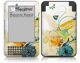 Water Butterflies - Decal Style Skin fits Amazon Kindle 3 Keyboard (with 6 inch display)