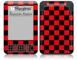 Checkers Red - Decal Style Skin fits Amazon Kindle 3 Keyboard (with 6 inch display)