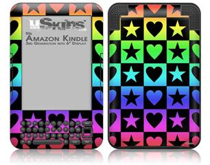 Hearts And Stars Rainbow - Decal Style Skin fits Amazon Kindle 3 Keyboard (with 6 inch display)