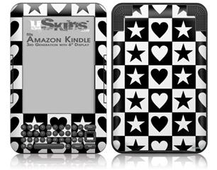 Hearts And Stars Black and White - Decal Style Skin fits Amazon Kindle 3 Keyboard (with 6 inch display)