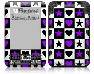 Purple Hearts And Stars - Decal Style Skin fits Amazon Kindle 3 Keyboard (with 6 inch display)