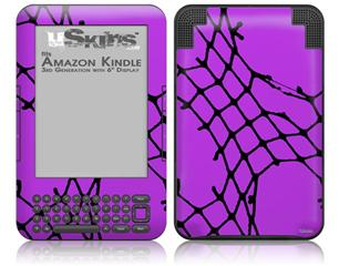 Ripped Fishnets Purple - Decal Style Skin fits Amazon Kindle 3 Keyboard (with 6 inch display)