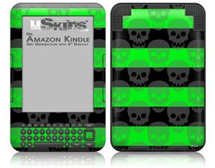 Skull Stripes Green - Decal Style Skin fits Amazon Kindle 3 Keyboard (with 6 inch display)