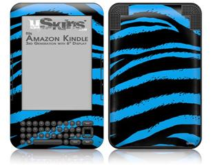 Zebra Blue - Decal Style Skin fits Amazon Kindle 3 Keyboard (with 6 inch display)
