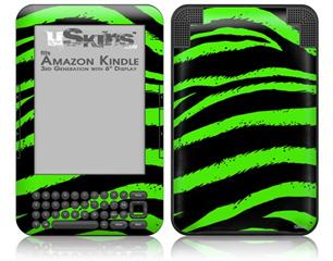 Zebra Green - Decal Style Skin fits Amazon Kindle 3 Keyboard (with 6 inch display)