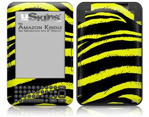 Zebra Yellow - Decal Style Skin fits Amazon Kindle 3 Keyboard (with 6 inch display)