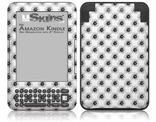 Kearas Daisies Black on White - Decal Style Skin fits Amazon Kindle 3 Keyboard (with 6 inch display)
