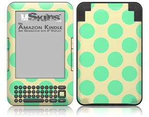 Kearas Polka Dots Green On Cream - Decal Style Skin fits Amazon Kindle 3 Keyboard (with 6 inch display)