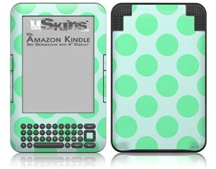 Kearas Polka Dots Green On Green - Decal Style Skin fits Amazon Kindle 3 Keyboard (with 6 inch display)