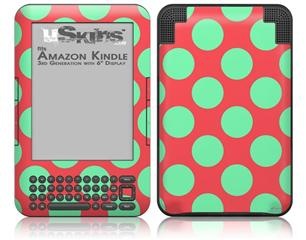 Kearas Polka Dots Green On Salmon - Decal Style Skin fits Amazon Kindle 3 Keyboard (with 6 inch display)