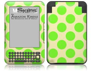 Kearas Polka Dots Lime On Cream - Decal Style Skin fits Amazon Kindle 3 Keyboard (with 6 inch display)