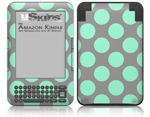 Kearas Polka Dots Mint And Gray - Decal Style Skin fits Amazon Kindle 3 Keyboard (with 6 inch display)