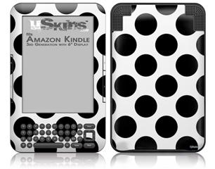 Kearas Polka Dots White And Black - Decal Style Skin fits Amazon Kindle 3 Keyboard (with 6 inch display)