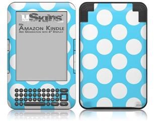 Kearas Polka Dots White And Blue - Decal Style Skin fits Amazon Kindle 3 Keyboard (with 6 inch display)