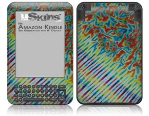 Tie Dye Mixed Rainbow - Decal Style Skin fits Amazon Kindle 3 Keyboard (with 6 inch display)