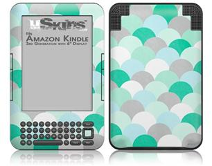 Brushed Circles Seafoam - Decal Style Skin fits Amazon Kindle 3 Keyboard (with 6 inch display)