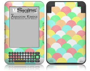 Brushed Cirlces Multi Light - Decal Style Skin fits Amazon Kindle 3 Keyboard (with 6 inch display)