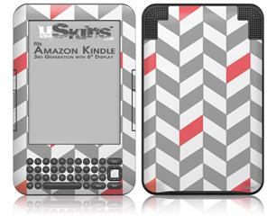 Chevrons Gray And Coral - Decal Style Skin fits Amazon Kindle 3 Keyboard (with 6 inch display)