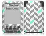 Chevrons Gray And Seafoam - Decal Style Skin fits Amazon Kindle 3 Keyboard (with 6 inch display)