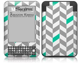 Chevrons Gray And Turquoise - Decal Style Skin fits Amazon Kindle 3 Keyboard (with 6 inch display)