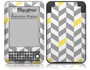 Chevrons Gray And Yellow - Decal Style Skin fits Amazon Kindle 3 Keyboard (with 6 inch display)
