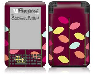 Plain Leaves On Burgundy - Decal Style Skin fits Amazon Kindle 3 Keyboard (with 6 inch display)